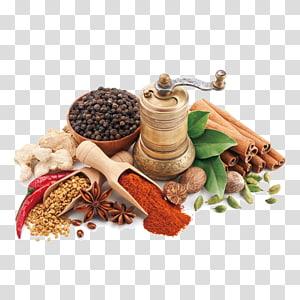 berbagai macam rempah-rempah dengan penggiling kuningan di permukaan putih, masakan India Chutney Spice Cooking Curry, Lima bahan telur teh png