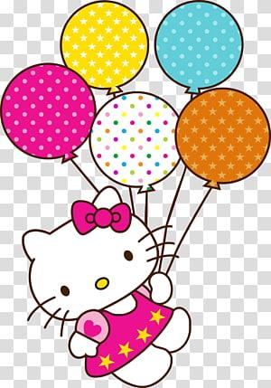 Kue Ulang Tahun Hello Kitty Selamat Ulang Tahun untuk Anda, hello kitty, Hello Kitty dan ilustrasi balon png