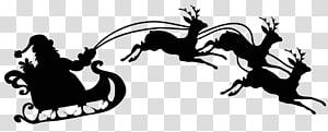 Sinterklas mengendarai giring ilustrasi, Sinterklas Reindeer Silhouette, Sleigh Silhouette s png