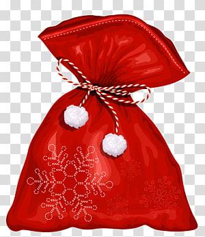 kepingan bersulam kepingan salju putih dan merah, Tas Natal Santa Claus, Tas Santa png