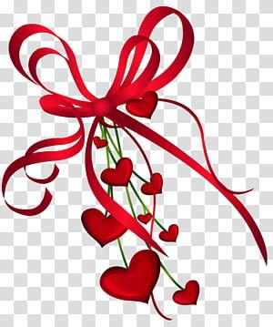 Hati Hari Valentine, Dekorasi Hati Hari Kasih Sayang dengan Red Bow, ilustrasi pita merah png