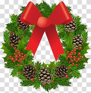 Karangan bunga Natal dekorasi Garland Balsam Hill, Karangan Bunga Natal, hijau, coklat, dan karangan bunga kerucut pinus merah dengan busur-aksen png