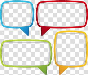 empat ilustrasi kotak dialog aneka warna, kotak dialog kertas, bingkai kotak teks PNG clipart