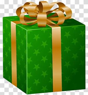 ilustrasi digital kotak hadiah hijau dan emas, Kotak hadiah Natal, Kotak Hadiah Hijau png