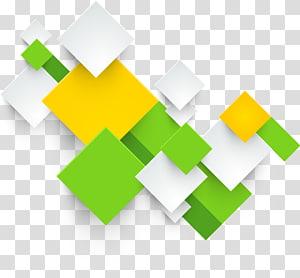 ilustrasi kotak putih, hijau, dan kuning, Printing Square, kotak geometris abstrak tiga dimensi PNG clipart