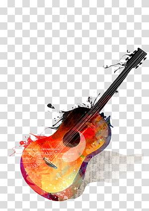 Lukisan cat air Gitar Alat musik Menggambar, gitar png