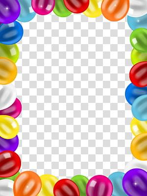 Ulang Tahun Balon, Bingkai Balon Perbatasan, ilustrasi bingkai warna-warni png