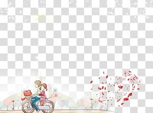 anak laki-laki dan perempuan mengendarai sepeda ilustrasi, Bersepeda Kartun Signifikan lainnya Dessin animxe9, Kartun pasangan PNG clipart