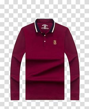 maroon lengan panjang polo shirt, T-shirt lengan panjang Polo shirt Busana, kemeja POLO png