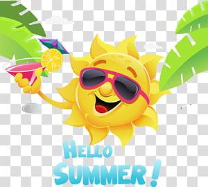 ilustrasi matahari kuning, Ilustrasi Kartun Musim Panas, Elemen matahari musim panas segar yang hebat PNG clipart