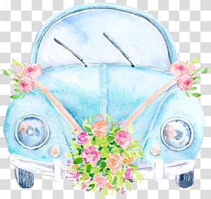 ilustrasi mobil kumbang biru, undangan Pernikahan Mobil Volkswagen, Mobil Pernikahan png