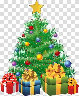 Pohon Natal dan kotak hadiah, pohon Natal Hari Natal Malam Natal, Pohon Hijau Natal dengan Hadiah PNG clipart