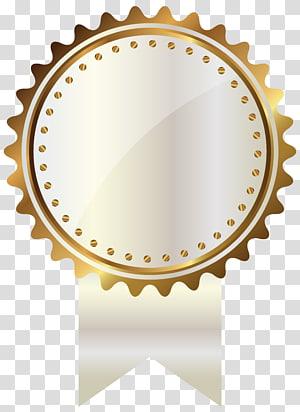 ilustrasi medali emas, Segel Emas, Putih dan Emas dengan Pita PNG clipart