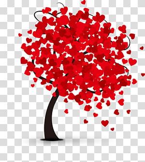 Jantung Hari Kasih Sayang, pohon Hari Valentine Romantis, pohon berbentuk hati berdaun png