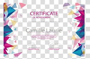 Diploma Euclidean Sertifikat akademik Wisuda upacara Akademickxfd certifikxe1t, Segitiga warna mengambang pola perbatasan sertifikat, sertifikat untuk Camille Laurie png