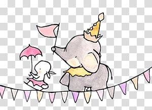 ilustrasi gajah dan kelinci, Lukisan Cat Air Menggambar Seni Grafis Ilustrasi, Gajah akrobatik png