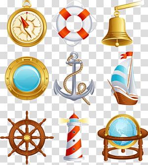 sembilan warna aneka, Ikon Berlayar, bahan tema Nautical png