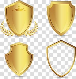empat logo perisai emas, Euclidean, perisai emas yang dilukis dengan tangan png