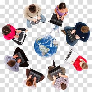 delapan orang menggunakan laptop dengan bumi di tengah ilustrasi, Media sosial Kewirausahaan Bisnis Kepemimpinan, Orang-orang Internet png