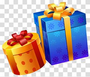 Hadiah Ulang Tahun, Kotak Hadiah Biru Kuning, dua kotak hadiah oranye dan biru png