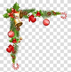 Perbatasan natal tebu dan ings, ornamen Natal Santa Claus, Ornamen Dekorasi Natal PNG clipart