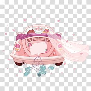 mobil pernikahan convertible merah muda, undangan Pernikahan Mobil, kartun pernikahan Romantis PNG clipart
