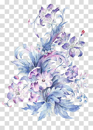 Gambar Lukisan Cat Air, Bunga cat air kecil yang dilukis dengan tangan segar, lukisan bunga ungu dan merah muda png