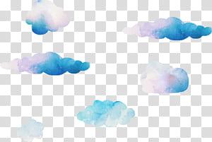 Komputer Langit Biru Langit, awan cat air Mimpi, ilustrasi awan png