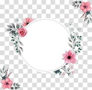 Bingkai undangan pernikahan, Garis tepi air berwarna merah muda, Bunga merah muda png