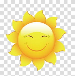 ilustrasi matahari kuning, Kartun Smiley, Bahan desain sun summer PNG clipart