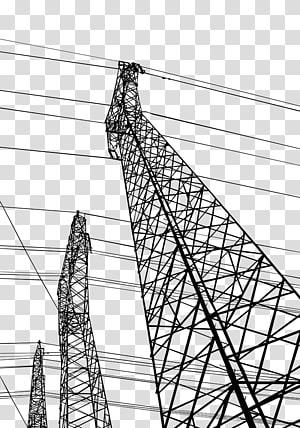 Listrik Tegangan tinggi Transmisi daya listrik, Garis tegangan tinggi yang dilukis dengan tangan png
