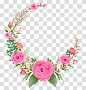 Bunga Pink Rose, bingkai bunga Pink, bingkai pink dan hijau png