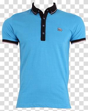 kaos polo biru dan hitam, T-shirt Polo Shirt, Polo shirt png