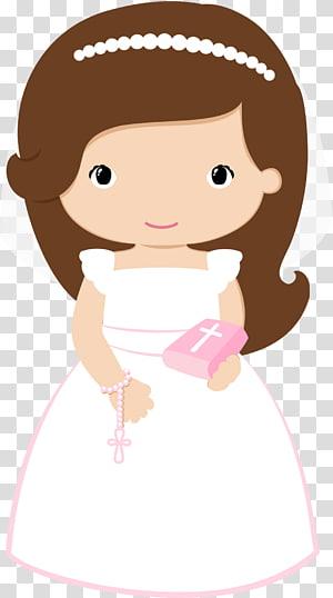 ilustrasi pengantin perempuan berambut coklat, Ekaristi Baptisan Komuni Pertama, baptisan png