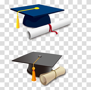 ilustrasi topi hitam dan biru, topi wisuda, Topi akademik, Ikon Hat, Dr. cap png