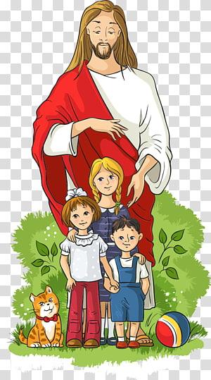 Yesus Kristus dengan tiga balita dan karya seni kucing, Ilustrasi Anak, Anak-anak dan Yesus png
