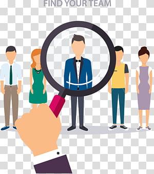 Temukan ilustrasi Tim Anda, Perekrut Manajemen sumber daya manusia Ilustrasi Bisnis, Ambil kaca pembesar untuk menemukan seseorang PNG clipart