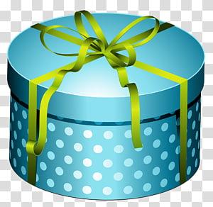 ilustrasi kotak hadiah bulat dan putih polka-dot, hadiah Natal Ulang Tahun, Kotak Bulat Biru Hadir dengan Busur png
