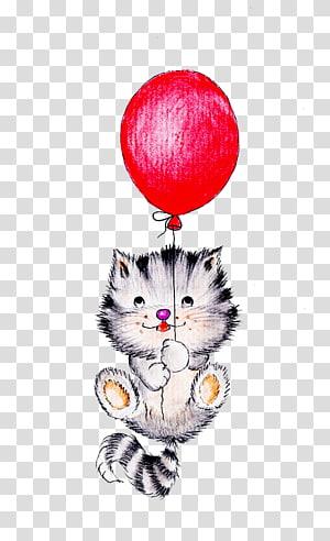ilustrasi kucing dan balon merah, Balon Kucing Kucing Beruang, Kucing lucu png