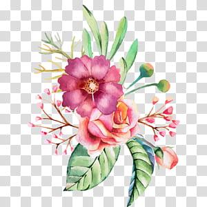 Cat Air Bunga Undangan Pernikahan Lukisan Cat Air, Tangan dicat cat air bunga dan pola dekoratif bunga, bunga mawar merah muda ilustrasi png