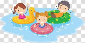 tiga anak di cincin berenang seni, Kolam renang Kartun Anak, Anak-anak berenang png
