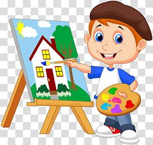 ilustrasi lukisan rumah anak, Lukisan Gambar Seni, kartun anak-anak PNG clipart