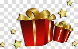Kartu Natal Kebahagiaan Anak Ulang Tahun, Kotak Hadiah Merah Natal, dua kotak hadiah merah dengan ilustrasi pita emas png