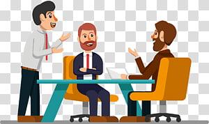 tiga pria duduk bersama ilustrasi, Ilustrasi Sumber Daya Pertemuan Euclidean, Rapat untuk membahas permintaan png