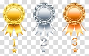 Aplikasi untuk Kompetisi Pengembangan Pita Rosette, Set Hadiah Emas Perak Tembaga, tiga pita emas, perak, dan perunggu png