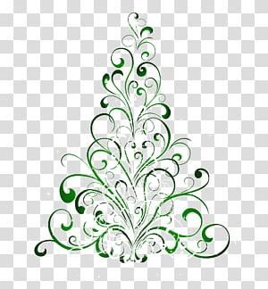 bunga putih dan hijau, Hadiah pohon Natal, Pohon Natal Hijau PNG clipart