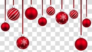 Ornamen Natal, Red Christmas Hanging Balls Decor, pernak-pernik natal merah png