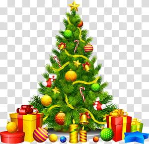 Pohon Natal Ornamen Natal, Pohon Natal Besar dengan Hadiah, ilustrasi pohon Natal beraneka warna PNG clipart