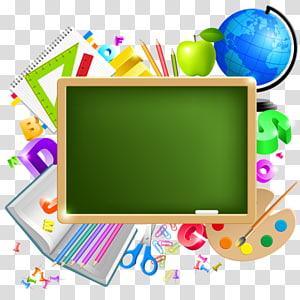 ilustrasi perlengkapan sekolah, perlengkapan sekolah pendidikan siswa, belajar kembali ke sekolah PNG clipart