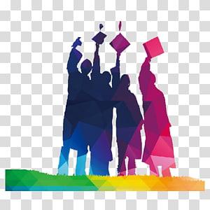 Empat orang memegang papan mortir ilustrasi, Upacara Wisuda Universitas Terbuka Cina Pendidikan sarjana, Kami lulus png